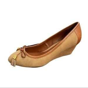 Lauren Ralph Lauren Tan Suede & Leather Wedges 8B